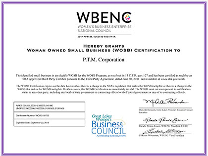 PTM Corporation is WBENC Certified | PTM